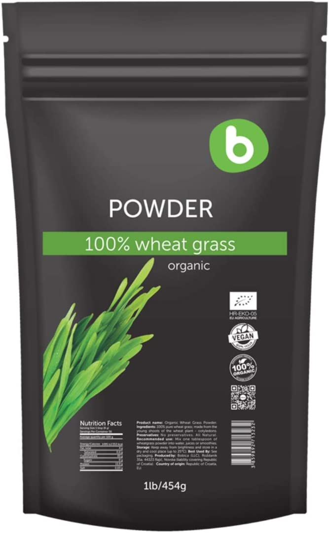 Bobica s PREMIUM European Organic WheatGrass Powder 1lb 454g Superfood, Vegan Friendly,Rich in Fibers, Chlorophyll, Minerals 100 Pure, Non-GMO, Gluten-Free, Raw