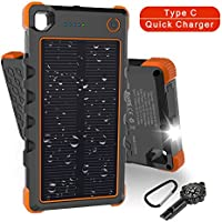 Solar Charger Type C 13500mAh, Hobest Dual Input/Output 3A max Solar Phone Charger, Portable Outdoor Solar Power Bank with Whistle Compass