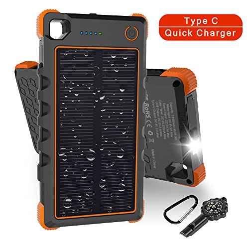 Solar Charger Type C 13500Mah  Hobest Dual Input Output 3A Max Solar Phone Charger  Portable Outdoor Solar Power Bank With Whistle Compass