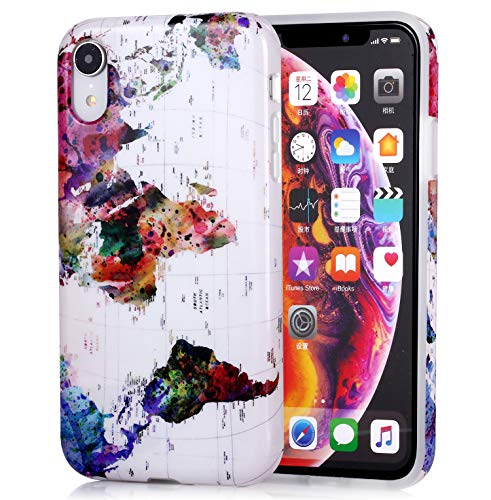 Marble Design Flexible Protective Phone Case for iPhone XR, Light Weight Soft TPU Glossy Rubber Silicone Skin Cover for iPhone XR 2018 6.1 inch - World Map from ZQ-Link