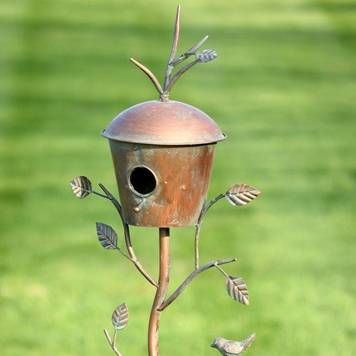Zaer Ltd. Large Copper Colored Birdhouse Garden Stakes (Set of All 4)