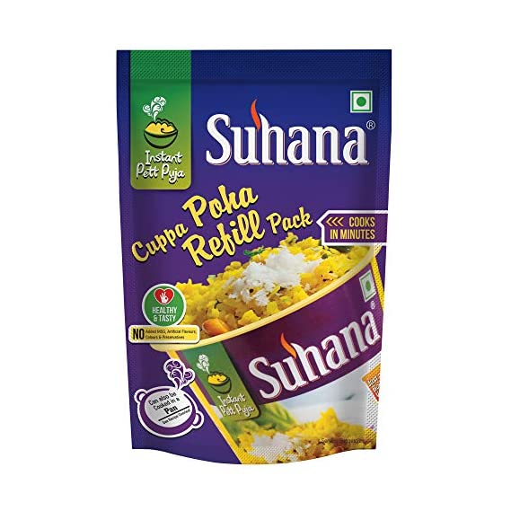 Suhana Cuppa Poha Refill Pouch Ready to Eat Instant Breakfast - Pack of 4