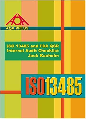 ISO 13485 and FDA QSR Internal Audit Checklist: Jack Kanholm