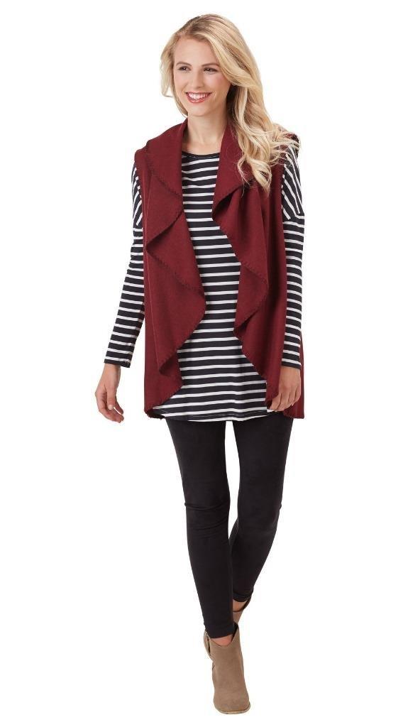 Mud Pie Womens Sierra Blanket Vest Felted Solid Color Wide Lapel, Burgundy