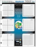 MiniPLOT Graph Paper Kit: Six XY axis coordinate grid designs printed on 3x3'' Sticky Note Pads. Pads mounted on 8.5x11'' cardstock. 50 adhesive backed sheets per pad.