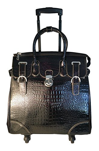 21'' Computer/laptop Large Bag Tote Duffel Rolling 4 Wheel Spinner Luggage Croc by Trendy Flyer