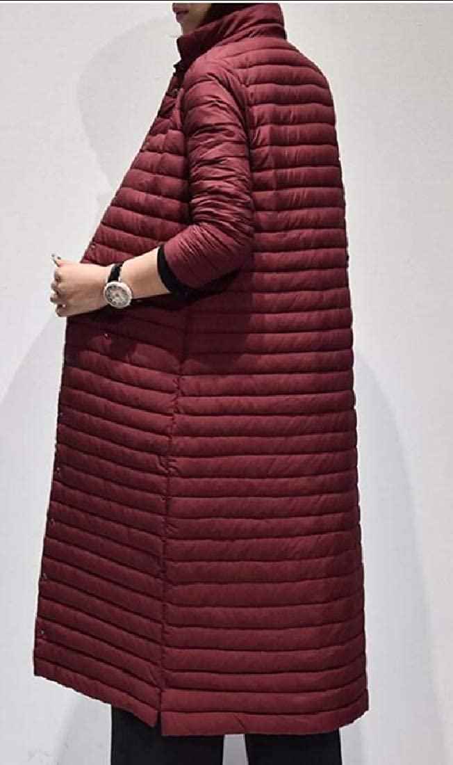 yibiyuan Women Single Breasted Winter Stand Collar Quilted Parka Coat Outwear