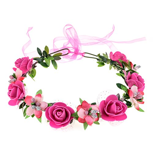 June Bloomy Rose Floral Crown Wreath Girls Flower Headband Boho Garland Halo Headpiece (Peach) ()