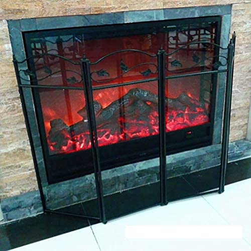 黒4パネル暖炉スクリーン、シンプルな暖炉アクセサリー装飾スパークガードフェンス、屋内屋外耐火安全プロテクター金属メッシュ、52×32インチ