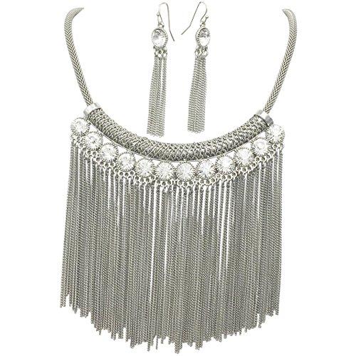 Gypsy Jewels Dramatic Chain Tassel Fringe Necklace & Earrings Set (Silver Tone Bar with Rhinestones)