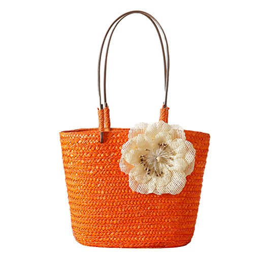 Zhuhaitf Ventas calientes High Quality Womens Delicate Woven Bags Handbag Small Linen Beach bag Candy Color Orange