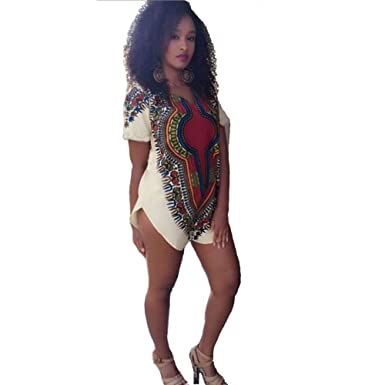 bba9a8d8eb9 Blooming Jelly Women s Bohemian Sexy V Neck Ethnic Print Short Sleeve T  Shirt Dress