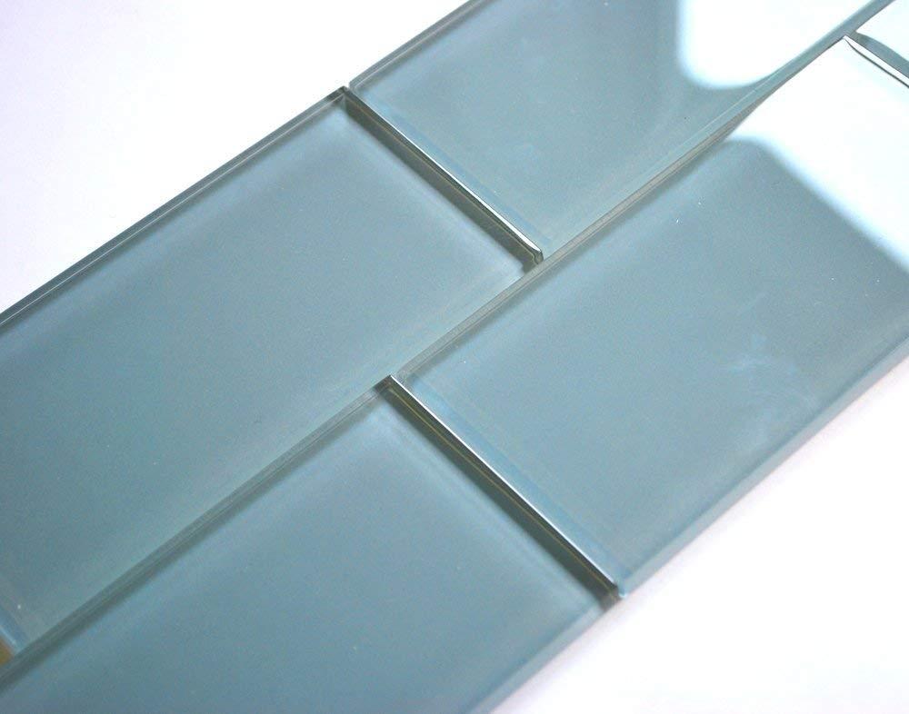 3x6 Light Blue Shiny Subway Glass Tile Wall Backsplash 1 SF