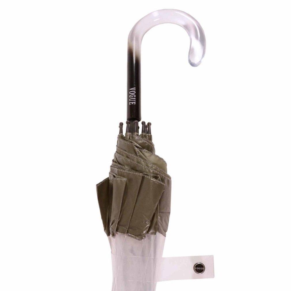 Paraguas largo mujer transparente Vogue manual aluminio franja gris: Amazon.es: Equipaje