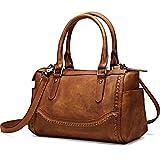 NiceEbag Women Satchel Top-handle Bag Vintage Handbags Shoulder Bag Ladies Genuine Leather Tote Purse With YKK Zipper [11.8 x 7 x 5.7 Inch] (Brown)