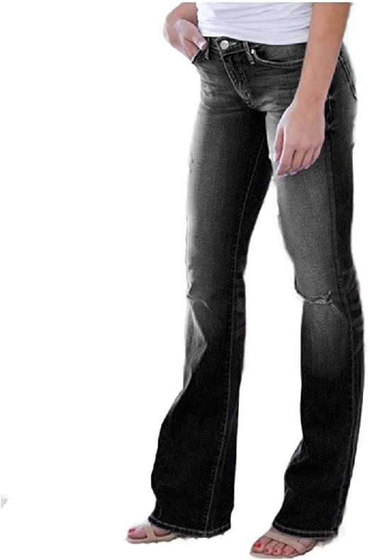 Nicellyer Women's Slim Ripped Hole Boot Cut Casual Fashion Denim Jeans