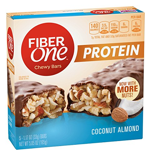 Fiber One Protein Bar, Coconut Almond Chewy Bars, 1.17 oz , 5 count (One Fiber Oats)