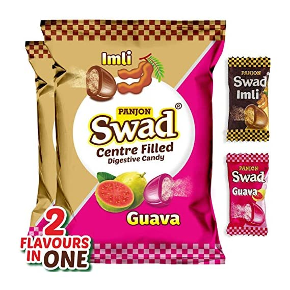 Swad Mixed Guava & Imli Toffee Packet, 200 Candies Pouch, 420 g