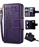 Samsung S8 Plus Case,Galaxy S8 Plus Wallet Case, FLYEE 9 Card Slot PU Leather Magnetic Protective Cover with Mirror and Wrist Strap for Samsung Galaxy S8 Plus Purple