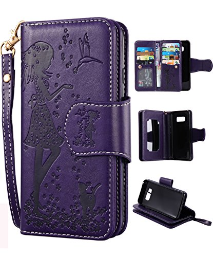 Samsung S8 Case,Galaxy S8 Wallet Case, FLYEE 9 Card Slot PU Leather Magnetic Protective Cover with Mirror and Wrist Strap for Samsung Galaxy S8 Purple