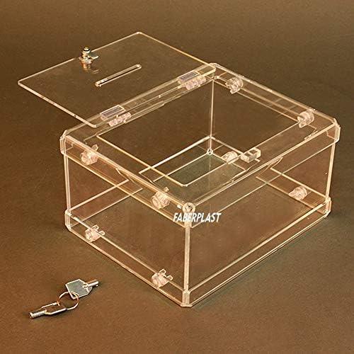 Hucha / Urna de Metacrilato Transparente MINIEASY II - Con Cerradura -: Amazon.es: Oficina y papelería