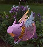 #8: Outdoor Solar LED Lighted Hanging Metal Flying Pig Bird Feeder, 15 L x 4.5 W x 14.5 H