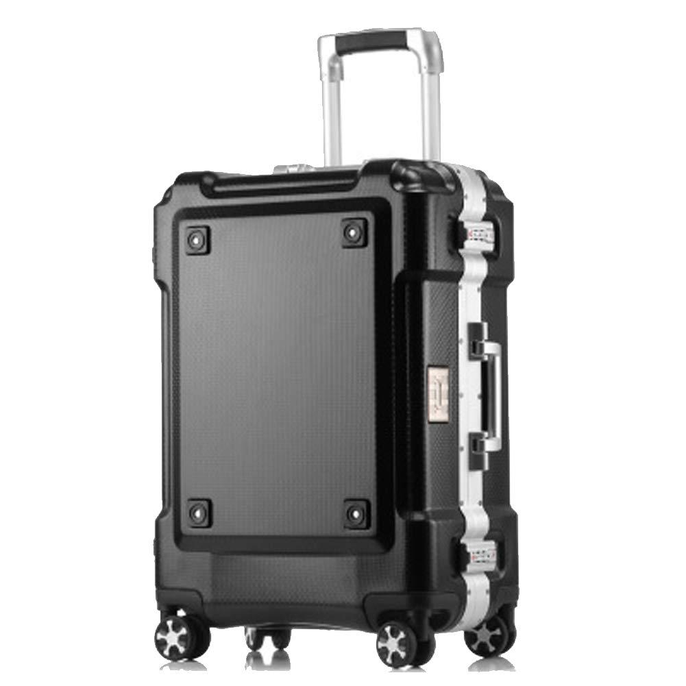 軽量高級スーツケース、トランスフォーマースーツケース、搭乗アルミフレームトロリーケース、牽引リーエアバッグ、-black-L B07RKMJ8JT black Large