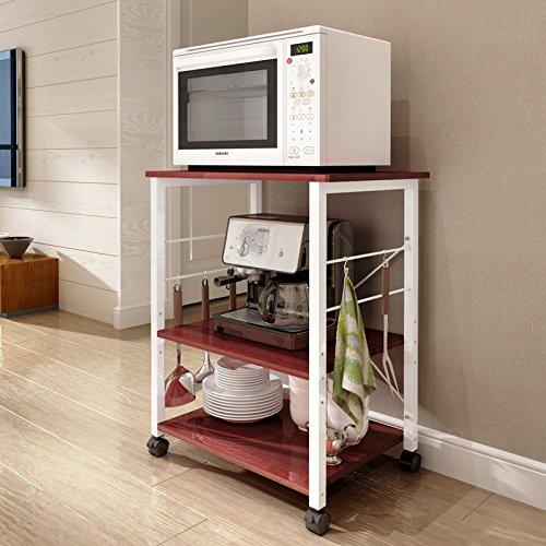 Polar Aurora 3-Tier 24'' Microwave Stand Storage Kitchen Baker's Rack Utility Microwave Oven Stand Storage Cart Workstation Shelf (Walnut)