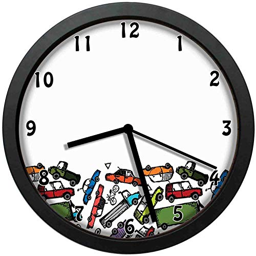 luckboy-zm Collection of Hand Drawn Toy Cars Clustered Colorful Pattern Children Friendly Design, Multicolor Wall Clock Nice for Gift or Office Home Unique Decorative Clock Wall Decor 12in with Frame