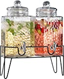 Homephile Twin Ice Cold Hammered Beverage Drink Dispensers On Metal Stand 1.5 Gallon Each Jug