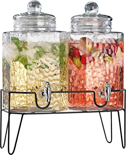 Homephile Twin Ice Cold Hammered Beverage Drink Dispensers On Metal Stand 1.5 Gallon Each Jug by HC