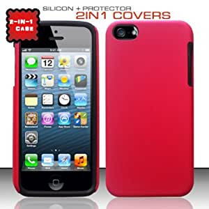 Pink Hard Soft Gel Dual Layer Cover Case for Apple iPhone 5