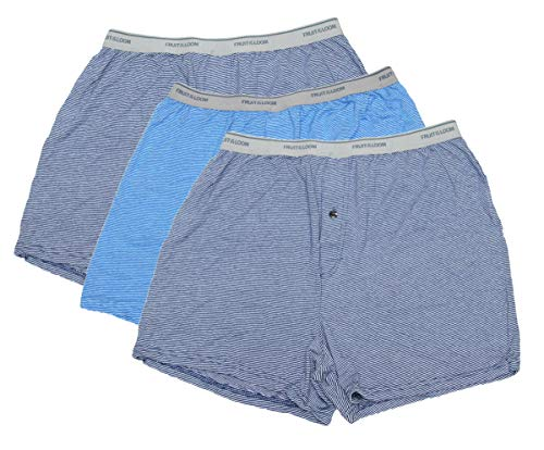 Fruit of the Loom Solid Knit Boxers 3-Pack (Colors and Patterns May Vary) … (Assorted Stripes, Large)