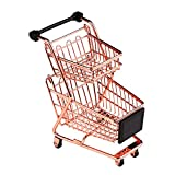 kids shopping trolley - wgg Mini Shopping Cart Supermarket Handcart Trolley Children's Toys, Table Office Novelty Decoration, Creative Storage Tools (Rose Gold, Double-Deck)