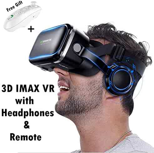 6665ded7bef VR Virtual Reality Headset w HiFi Headphones   Remote for 3D Movie Video  Game