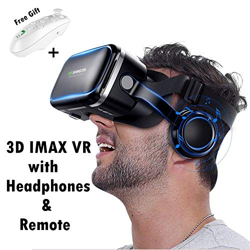 VR Virtual Reality Headset w/HiFi Headphones & Remote for 3D Movie Video Game