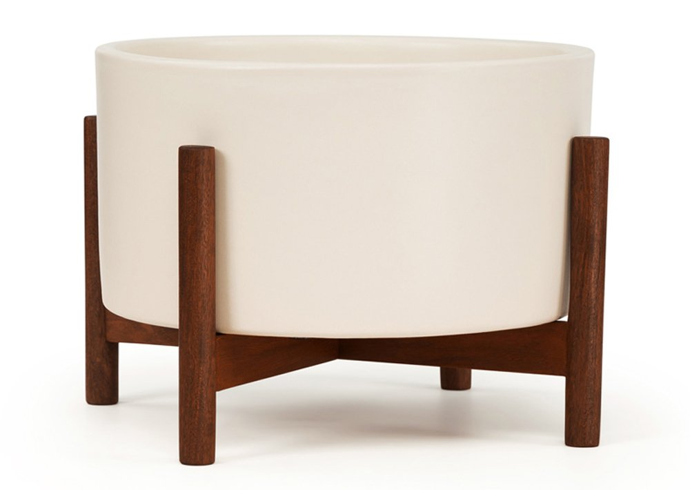 Case Study Table Top Cylinder with Wood Stand (White)