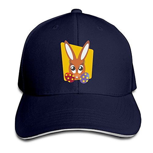 Unisex Sandwich Peaked Cap Cute Easter Bunny Art Adjustable Cotton Baseball Caps
