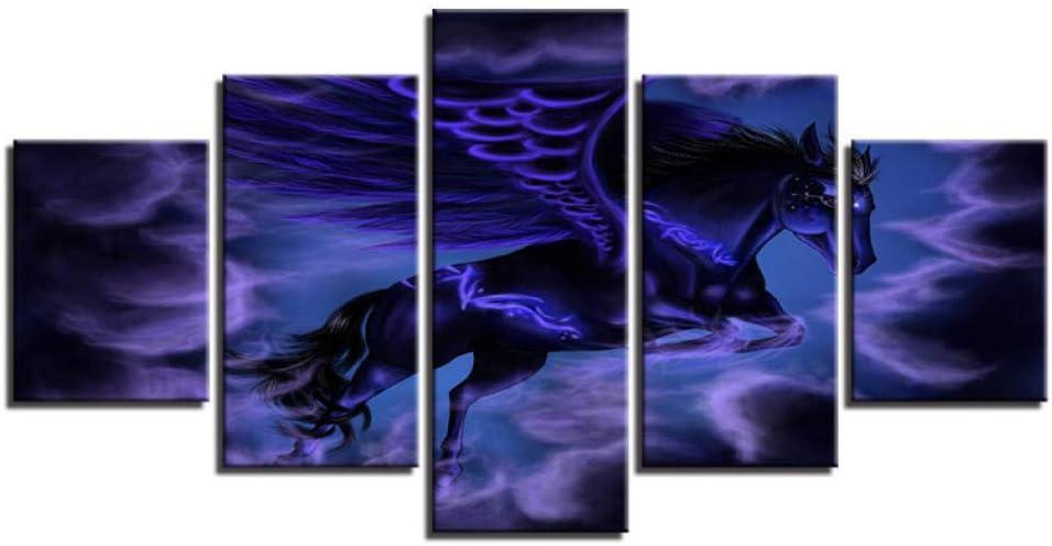 PrintWUHUA Cuadros Lienzos Decorativos Caballo con Alas Púrpuras Resumen Vista Nocturna Cuadros Abstractos Modernos 5 Partes (W) 150Cmx(H) 80Cm