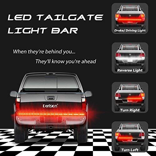 Full Featured Running Reverse Brake Turn Signal 60inch 2-Row LED Truck Tailgate Light Bar Strip for Pickup,Trucks,Trailers,Cars,SUV,RV LED Truck Tail Light