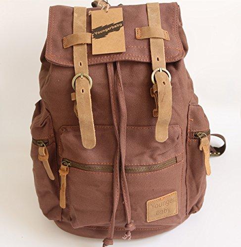 Youngerbaby Vintage Canvas Genuine Leather Straps Student School Bag Laptop Rucksack Backpack Schoolbag Brown