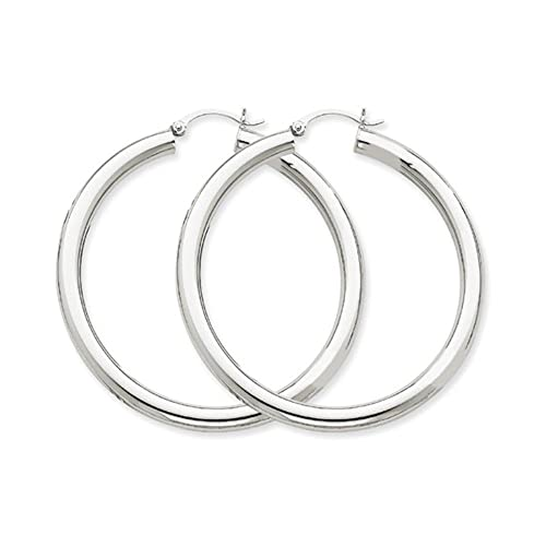 10k Polished 4mm x 50mm Tube Hoop Earrings
