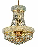 Elegant Lighting 1800D16G/RC Primo 20-Inch High 8-Light Chandelier, Gold Finish with Crystal (Clear) Royal Cut RC Crystal For Sale