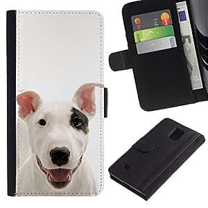 Be Good Phone Accessory // Caso del tirón Billetera de Cuero Titular de la tarjeta Carcasa Funda de Protección para Samsung Galaxy Note 4 SM-N910 // American Pit Bull Terrier Dog Cani