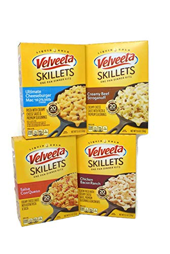 Variety Pack - Velveeta Skillets Liquid Gold Pasta - Salsa Can Queso (11.7 oz)