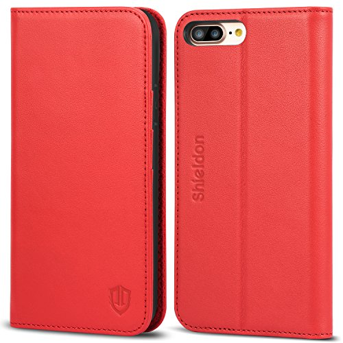 iPhone 8 Plus Case, iPhone 7 Plus Case, SHIELDON Genuine Leather Wallet Flip Book Cover Design with Kickstand and [ID Card Slot] [Magnetic Closure] TPU Shockproof Inner Case for iPhone 8 Plus - Red