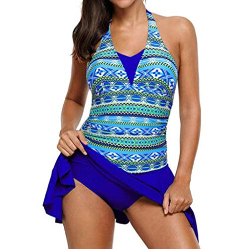 Triangle Bikini Too,Women Swimming Costume One Piece Padded Halter Skirt Swimwear Swimdress Swimsuit,Blue,2XL,Women's Athletic Swimwear -