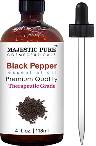Majestic Pure Black Pepper Essential Oil, Pure and Natural with Therapeutic Grade, Premium Quality Black Pepper Oil, 4 fl. oz.