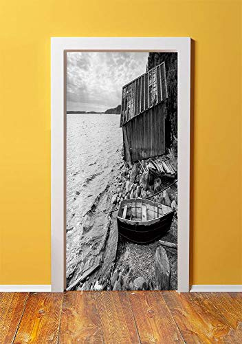 Black and White Decor 3D Door Sticker Wall Decals Mural Wallpaper,Old Wooden Fishing Boat and Abandoned Barn on Lake Coastal Charm Picture,DIY Art Home Decor Poster Decoration ()