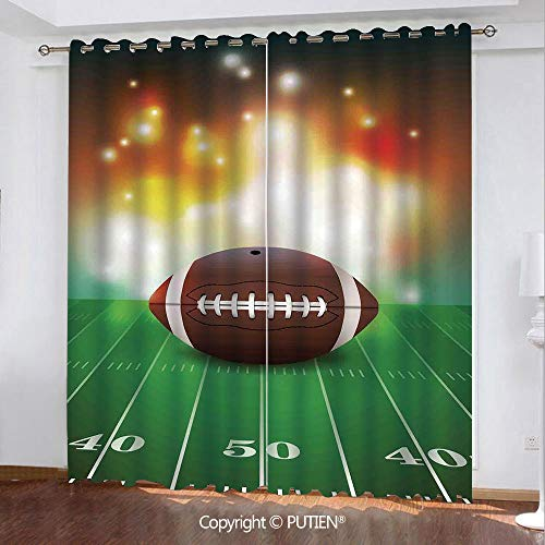 Satin Grommet Window Curtains Drapes [ Sports,American Football Ball with Golden Pties on Grass Turf Field Team Art Graphic,Brown Green ] Window Curtain for Living Room Bedroom Dorm Room ()